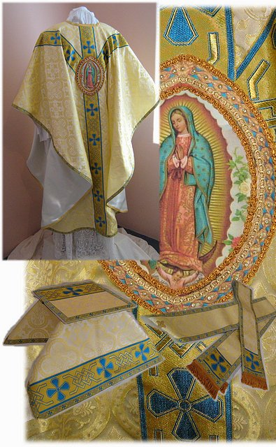 Marian Gothic Vestments With Emblem Of Our Lady Of Guadalupe