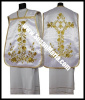 Embroidered White Roman Vestments with Marian Theme