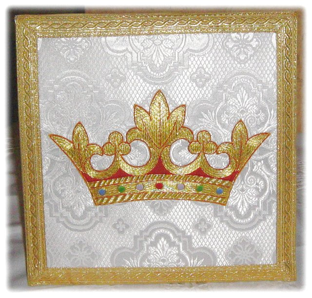 Benediction Burse made from Russian silk, featuring beautiful bullion Crown embroidery; lined in pur