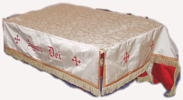 Large Processional Canopy with Pure Silk side panels, embroidered Greek Crosses, gothic script text,