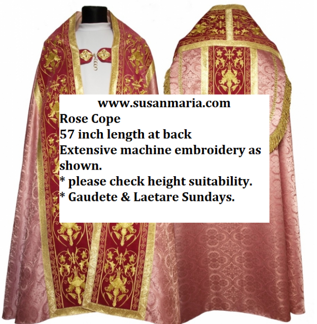 Roman Cope in Rose Church fabric with Embroidery