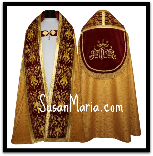 Spanish style Roman cope in gold church fabric with ornate embroidery