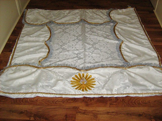 Processional Canopy in White Jacquard