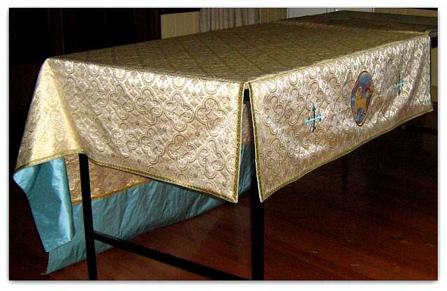 Processional Canopy White/gold Church Fabric Blue silk lining