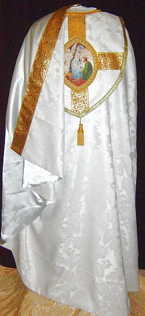 Cope in white on white fabric with Nativity Theme