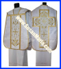 Embroidered Roman Vestments from Europe in White Church Fabric